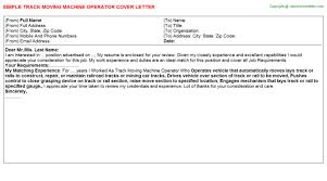 track moving machine operator cover letter