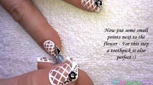 NET FRENCH NAIL ART Tutorial Black White Nails With Flower Design ...