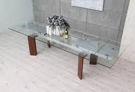 modrest bijou contemporary extendable walnut  glass dining table