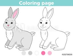 Coloring Page Outline For Kids Cartoon Rabbit Easter Bunny
