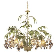 titan lighting huarco 6 light seashell and green chandelier with amber glass flower shades