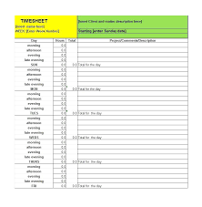 Free Excel Daily Timesheet Template Puntogov Co