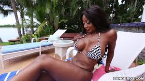 Bikini black babe Diamond Jackson chilling by the pool Gosexpod.