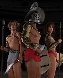 Women gladiators nude 3d