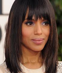 kerry washington mid length hairstyles straight haircut with blunt bangs