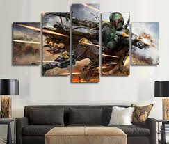 5 pieces star wars warrior boba fett wall art picture home decoration living room canvas print on wall art pieces with 5 pieces star wars warrior boba fett wall art picture home