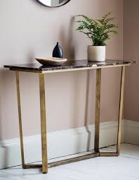 brass console table. Black Marble And Brass Console Table