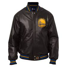 golden state warriors jh design team color logo all leather jacket black