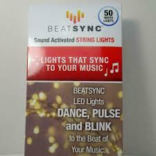 Beat Sync Lights Uk New Beat Sync Sound Activated 50 Led White String Lights Indoor Outdoor Battery