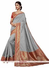 Grey Color Designer Blouse Grey Color Designer Saree