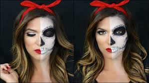 half skull half pin up makeup tutorial