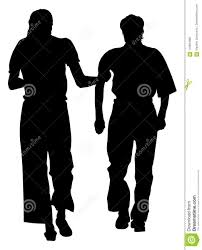 Nurse Helps Old Person To Walking Silhouette Stock Illustration