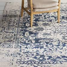 amazing grieve creamnavy area rug reviews joss main intended for navy blue area rug popular