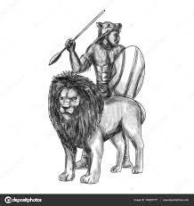 Africké Warrior Kopí Lion Tetování Stock Fotografie Patrimonio