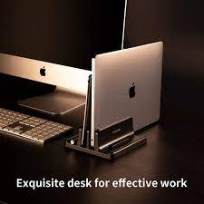 Buy Dual-Slot Adjustable Vertical Laptop Stand Made of Premium ABS Plastic 3  in 1 Design Space-Saving for All MacBook/Chromebook/Surface/Dell/iPad Up to  17.3 Inches - Black Online in Taiwan. B08L32HFH4
