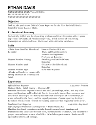 Court Reporter Resume Samples Fascinating Court Reporter Resume A Good Owner Manual Example