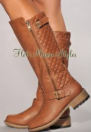 Brown Quilted Accent Tall Boots & Cognac Brown Quilted Accent Tall Boots Adamdwight.com