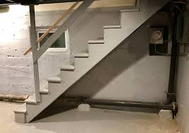 basement stairs. The Water Came In Just To Right Of Window, Behind Stringer, Basement Stairs I