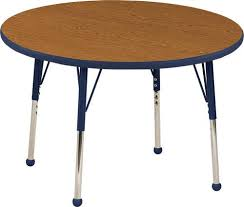 adjule activity table 36 round oak top navy trim navy legs toddler leg ball glides