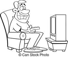 watching tv clipart black and white. cartoon man watching television. tv clipart black and white a