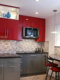 Small Kitchen Ideas with Red Cabinets and Chairs