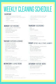 Weekly House Cleaning Schedules Standaret Info