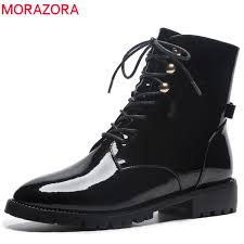 morazora 2019 top quality patent leather ankle boots women round toe lace up boots square heels martin punk shoes woman red boots high heel boots from
