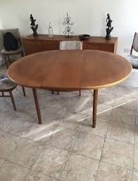 60s 70s mcintosh teak round circle extending dining table vintage with 6 chairs
