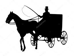 horse and wagon silhouette. silhouette of one horse cab with driver isolated on white \u2014 photo by kobets and wagon