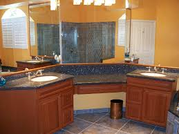 Curvy Grey Granite Bathroom Vanity Countertops And Mirror Under