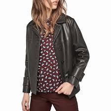gerard darel ornella leather jacket short long sleeve