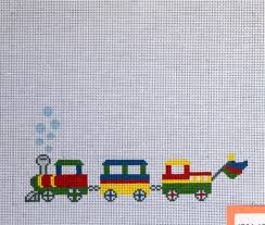 j child train picture frame hand painted needlepoint canvas 14 ct