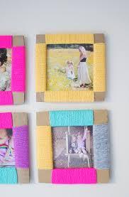yarn wrapped diy photo frames
