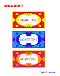 Printable Carnival Tickets Kids Printable Circus Tickets For Pretend Circus Play Ziggity Zoom