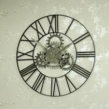 large metal skeleton cog wall clock