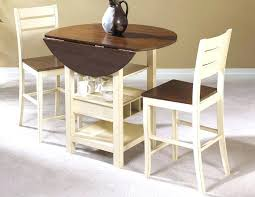 folding dining table simple small round drop leaf folding dining table wood with wine and glasses storage painted with white and brown color plus 2 chairs