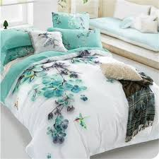aliexpress com pale turquoise fl and bird print bedding sets queen size 100 cotton bed sheets blooms duvet cover set bed in a bag 4pcs from