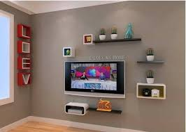 decorate with floating shelves that
