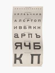 Eye Chart Poster Vintage Cyrillic Eye Chart Poster