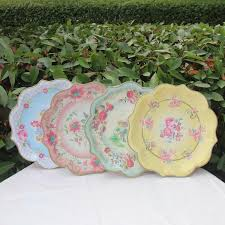 Pink Flower Paper Plates 2019 New Design Vintage Large Paper Plates Blue Yellow Green Pink