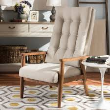 Modern High Back Chairs For Living Room Baxton Studio Roxy Mid Century Modern Walnut Brown Finish Wood And