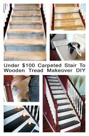 Painted Wood Stairs Under 100 Carpeted Stair To Wooden Tread Makeover Diy Staircase