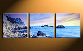 beach canvas 3 piece wall art home decor ocean print prints uk