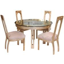 1960s glazed silver leaf round dining table and four chair set by james mont at 1stdibs