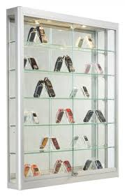 Top Best Wall Mounted Display Case Ideas X Wslider Doors Mirror Back  Locking Silver Glass Front ...