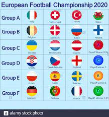 2020 European soccer tournament. European football tournament qualification  groups. country flags Stock Vector Image & Art - Alamy