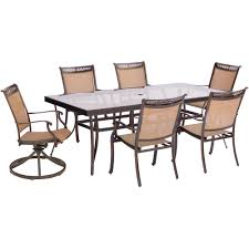 Glass top dining sets Glass Design Hanover Fontana 7piece Aluminum Outdoor Dining Set With Rectangular Glass Top Table And The Home Depot Hanover Fontana 7piece Aluminum Outdoor Dining Set With Rectangular