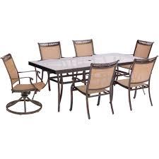 hanover fontana 7 piece aluminum outdoor dining set with rectangular glass top table and