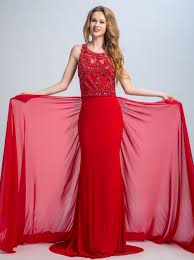 Elegant Mermaid/Trumpet Scoop Sweep Train Red Chiffon Prom/Evening ...