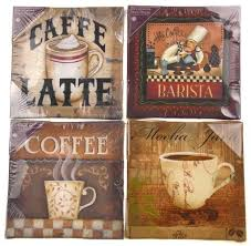 >decorative wall art canvas set 4 mocha java vintage brew fun chefs  decorative wall art canvas set 4 mocha java vintage brew fun chefs coffee latte
